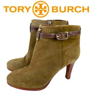 Tory Burch Patricia Mid Heel Suede Zip Up Almond Toe Bootie Ankle Boots Size 6